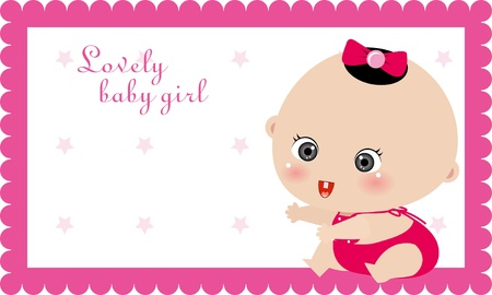 illustrtion of baby girl card, birthday card Vector
