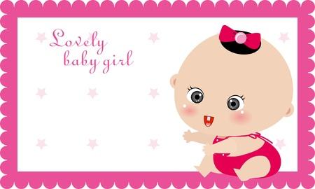 illustrtion of baby girl card, birthday card
