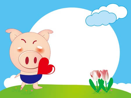 kid s: kid s photo framework with pig give your heart Illustration
