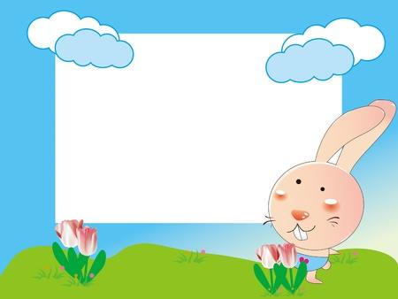 kid's: kid s photo framework with rabbit and tulip flowers Illustration