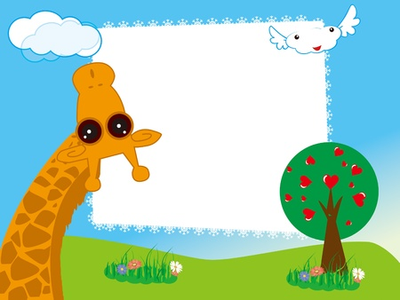 Vector illustration of kid s photo framework  with giraffe in the garden Vector