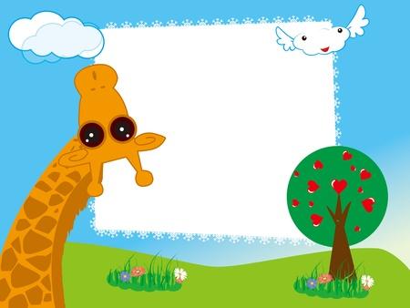 kid's: Vector illustration of kid s photo framework  with giraffe in the garden