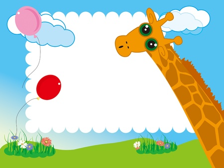 kid s photo framework Giraffe and balloon in the garden Vector