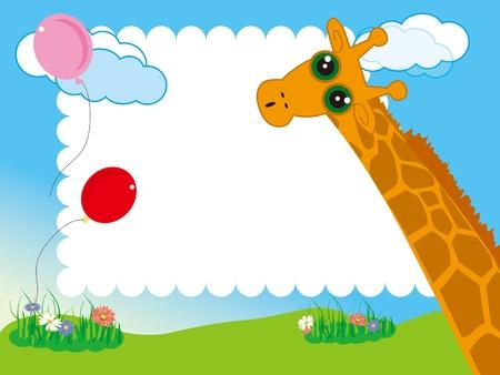 kid s photo framework Giraffe and balloon in the garden Stock Vector - 16535891