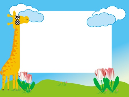 kid s photo framework with giraffe and tulip flowers Vector