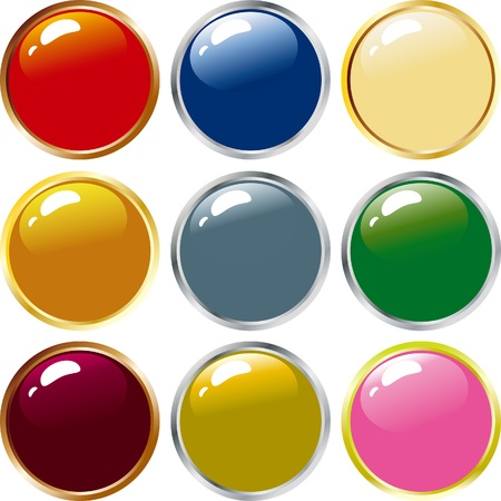 illustration of nine shiny buttons icon. Stock Vector - 16796592