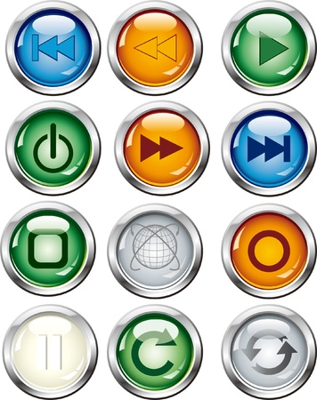 glowing button set Stock Vector - 16796595