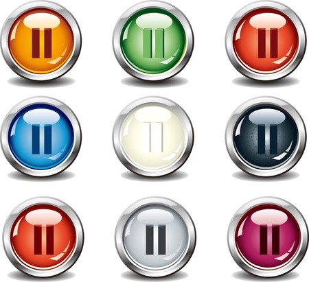 Nine stop glass button Vector