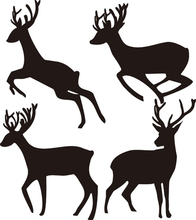 running icon: Deer Silhouette on white background Illustration
