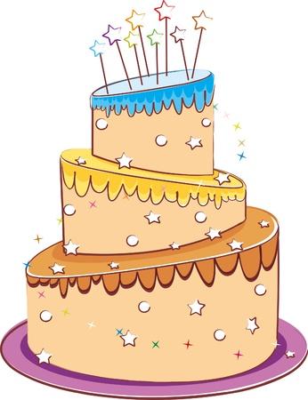 first birthday: wedding cake isolated on white