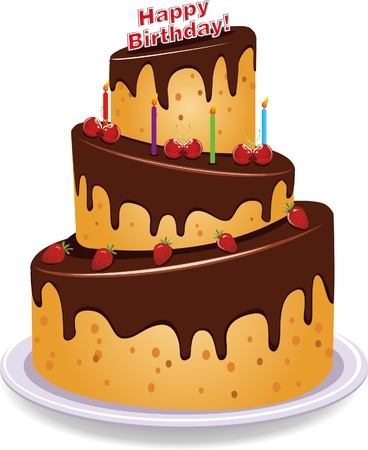 britheday cake in the white background Illustration