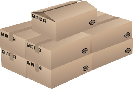 A bunch of cardboard boxes Stock Vector - 17090345
