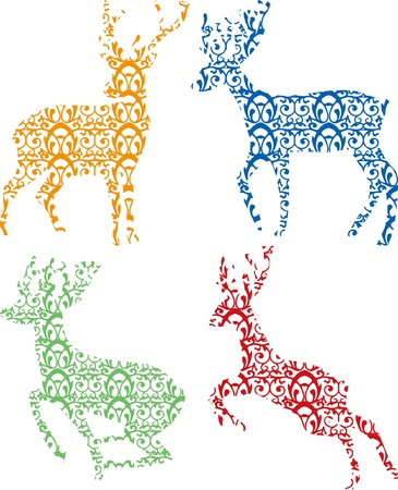 dignified: Deer Silhouette on white background Illustration
