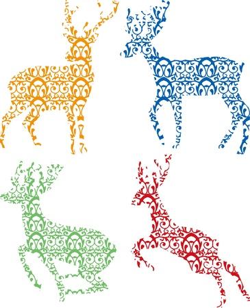 huge antlers: Deer Silhouette on white background Illustration