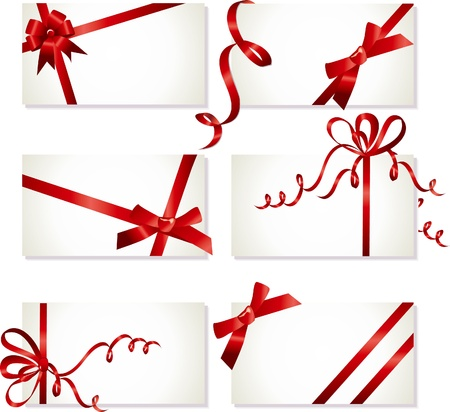 curling: collection of beautiful cards with red gift bows with ribbon Illustration