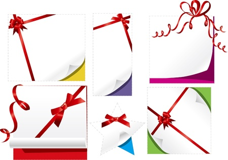 collection of beautiful paper with red gift bows with ribbon