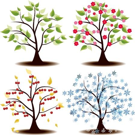 arboles de caricatura: Cerezo Four Seasons estado de