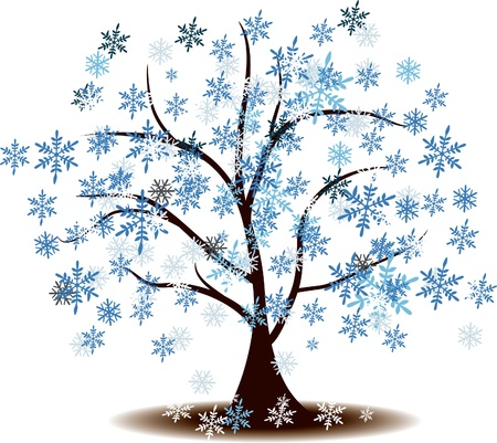 Winter's tree Covered with snow Stock Vector - 17090452