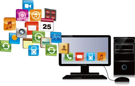 computer has many objects . email download concept , internet research, etc Illustration