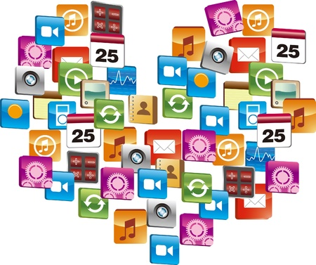 Many computer icon make heart-shaped Stock Vector - 17205512