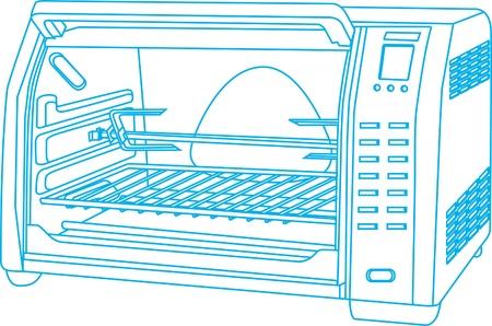 Household oven chart, vector