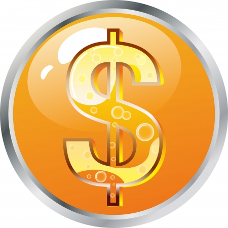 A pretty dollar button, network icon Stock Vector - 17694697