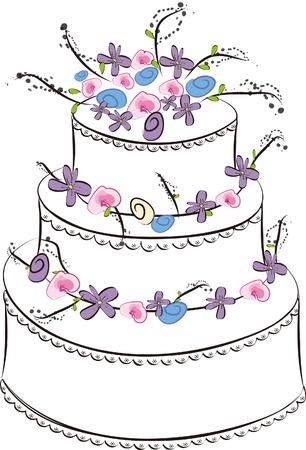 sweet wedding cake - illustration  Illustration