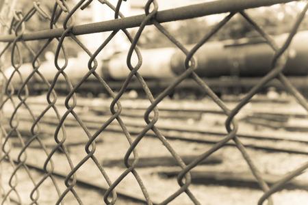 razor wire: Barbed Wire Fence. Prison Fence in Black and White Closeup.
