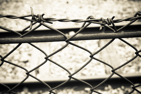 prison: Barbed Wire Fence. Prison Fence in Black and White Closeup.