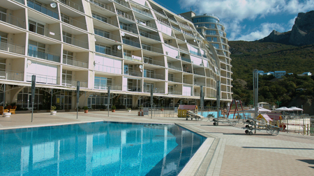 Expensive hotel complex located in the mountains Stockfoto