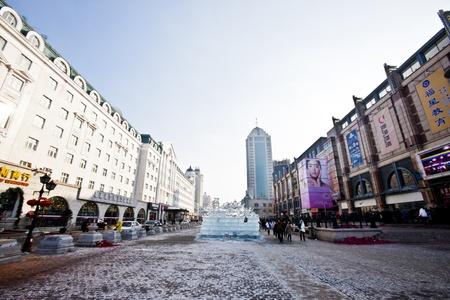 The shot of shopping area in Harbin City near Stalin Park.