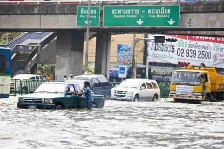 decades: Bangkok, Thailand - November 5, 2011:Traffic in Bangkok during the worst flooding in decades.