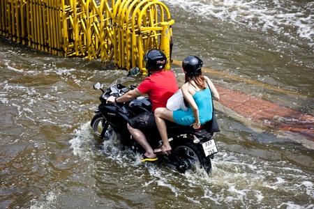 worst: Bangkok, Thailand - November 5, 2011: Traffic in Bangkok during the worst flooding in decades.