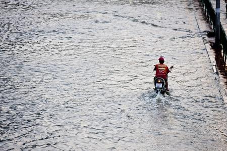Bangkok, Thailand - November 5, 2011: Traffic in Bangkok during the worst flooding in decades. Stock Photo - 11147363