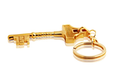 Isolated Golden Keychain   photo