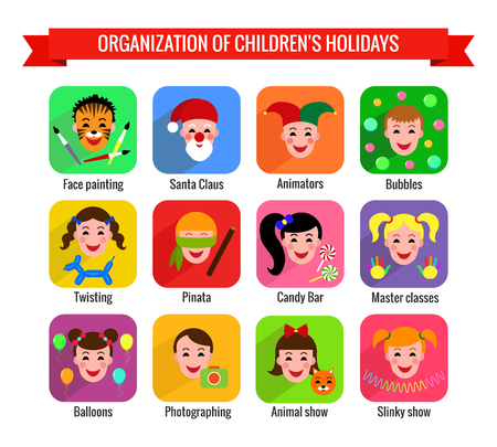 animator: Set of cute colorful icons with kids. Childrens entertainments for holidays. Vector illustration. Illustration