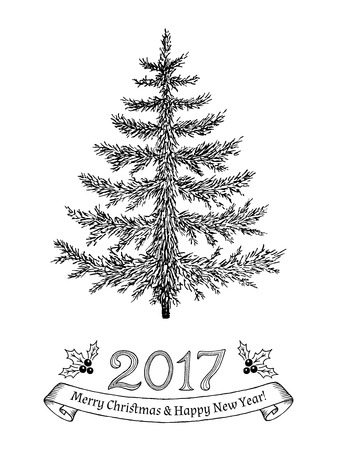 evergreen tree: Greeting card with text: Merry Christmas and Happy New Year 2017. Hand drawn evergreen tree without decorations. Sketch spruce, fir, fur, pine. Vector illustration.