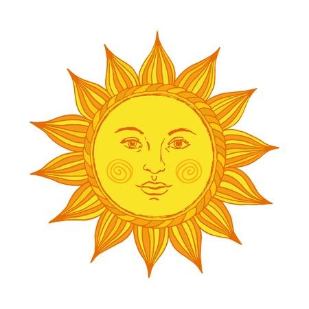 Mano sol dibujado con la cara y los ojos. Alquimia, medieval oculto, símbolo, mística del sol. Ilustración del vector.
