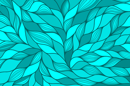 cerulean: Modern abstract horizontal background with hand drawn waves. Blue, azure, cerulean, aquamarine, turquoise, cyan wallpaper. Wavy background. Ocean motif. Hand drawn pattern. Vector illustration.