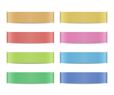 blank button: Collection of colored ribbon banners with paper cuts and shadows. Set of scroll elements. Template shapes for design of labels, price tags, emblems, website interface. Vector illustration. Illustration