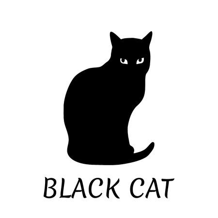 Silhouette gatto nero su sfondo bianco. Illustrazione vettoriale.