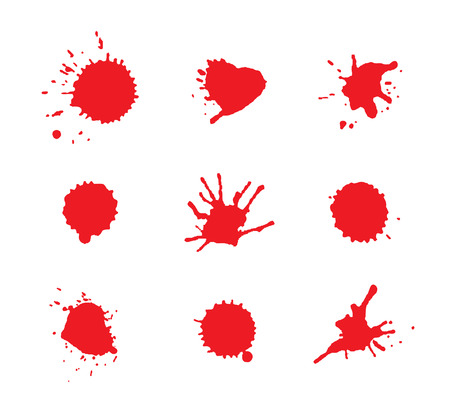 Blood stains. Red bloody blots. Vector illustration.