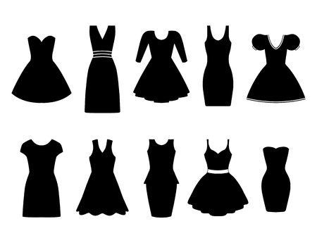 white clothes: Set of ten black dresses. Vector illustration.
