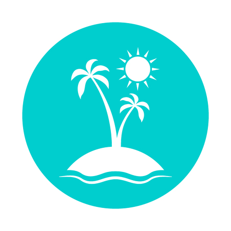 seacoast: Enjoy the summer. Silhouette of palm tree on blue background. Vector illustration with sun, sea, palm and sky.