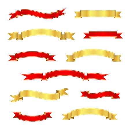 vintage scrolls: Set of red and gold ribbon banners. Collection of vintage scrolls. Vector illustration. Illustration