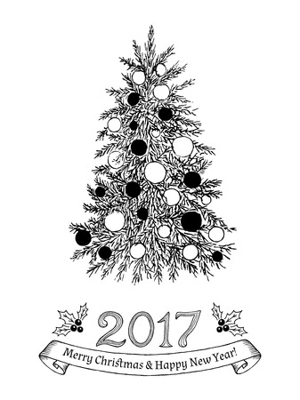 evergreen tree: Greeting card with text: Merry Christmas and Happy New Year 2017. Hand drawn evergreen tree with  decorations. Sketch spruce, fir,fur, pine. Vector illustration.