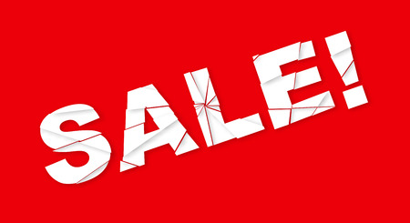 Sale banner with crashed text on red background. Vector illustration.