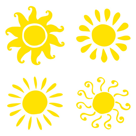 Set of hand drawn sun icons. Vector illustration eps10. Illustration