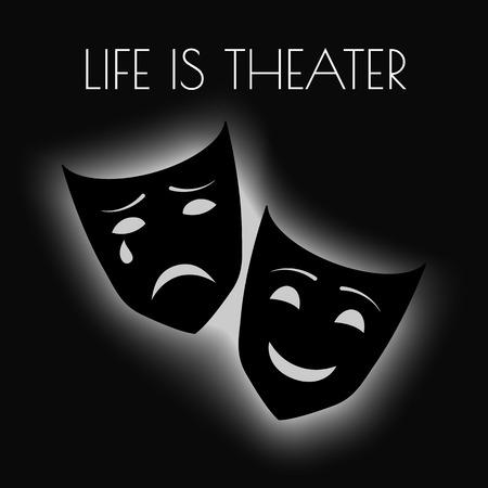caretas teatro: Ilustración del vector con las máscaras del teatro y profunda eps10 cotización Vectores
