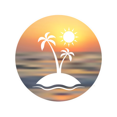 seacoast: Travel logo. Touristic background. Silhouette of palm tree on unfocused sunset background. Illustration